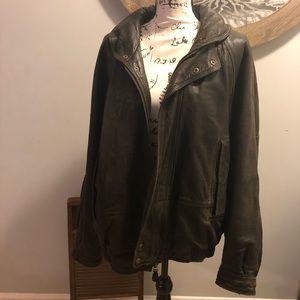 Nautica Genuine Leather Bomber Jacket 44